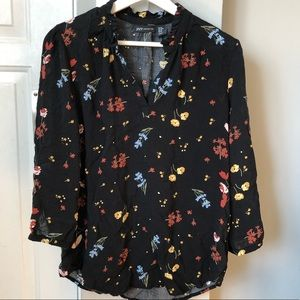 Sheer Floral Blouse with 3/4 length sleeves